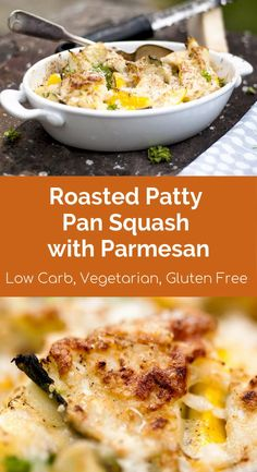 Roasted Patty Pan Squash with Crispy Parmesan This roasted pan squash with parmesan add-on might be a simple dish but so interesting and delightful to your guest. Feel the crunch. Patty Pan Squash Recipes, Summer Squash Recipes, White Patty Pan Squash Recipe, Roasted Squash, Chef Recipes, Sweets Recipes, Vegetable Dishes, Vegetable Recipes