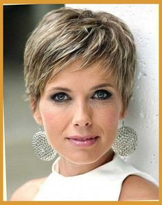 Image result for from brunette to blonde pixie cut over 50 fat face
