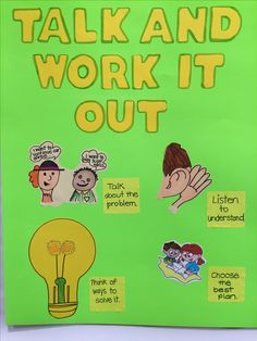 Sample poster for the Talk and Work it Out lesson.