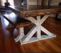 Farm style table - Farm house table - Reclaimed wood table and bench
