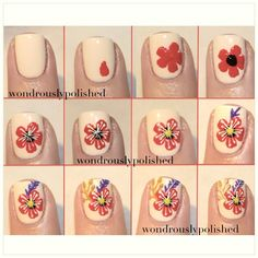 Retro flower nail art tutorial by Wondrously Polished Floral Nail Art, Nail Art Diy, Easy Nail Art, Diy Nails, Cute Simple Nails, Cute Nails, Hibiscus Nail Art, Nail Design Rosa, Nail Art Designs