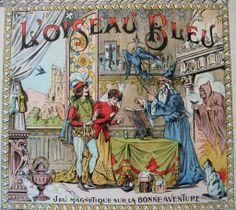 c1910 Wizard Magician French Game Board Print Cat Bird