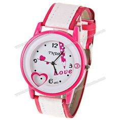 Wholesale No.A852 Women Quartz Watch 4 Arabic Numbers and Dots Indicate Round Dial Leather Watchband - Pink (PINK), Women's Watches - Rosewholesale.com