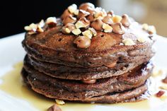 chocolate pancakes recipes | Double Chocolate Pancakes with Toasted Hazelnuts | Carnal Dish