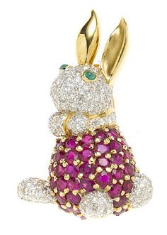 A ruby, emerald and diamond rabbit brooch