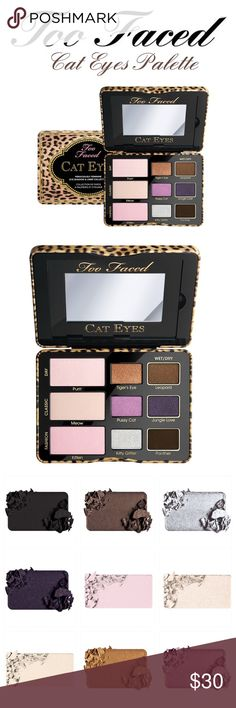 Too Faced Cat Eyes Eyeshadow Palette Featured nine new shades in matte, shimmer and glitter textures, three that can be worn wet-and-dry. It's the cat's meow!!  -Nine new shades, three that can be worn wet-and-dry -lustrous shadows that glide on gently for a weightless sparkle finish and velvety matte shades for eye-catching drama -Vivid, long-wearing color -how-to Glamour Guide. From a non-smoking home, pet free zone, giftable condition. 100% authentic guaranteed, can provide receipt from…