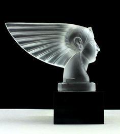 Bohemian Art Deco Glass Car Mascot Glass Statuette