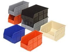 Stackable Shelf Bins: Quantum's exclusive Stackable Shelf Bins are an industry first and are ideal for medium size and large or heavy item storage. Stacking Bins, Stackable Shelves, Shelf Bins, Storage Bins, Bin Store, Plastic Bins, Garage Organization, House On Wheels, Organizing Your Home