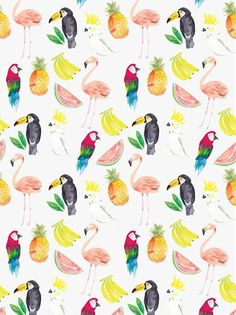 pattern by Yanrong Note: different tropical birds, different tropical fruits. See tropical birds photos, ie quetzal Cute Pattern, Pattern Art, Pattern Design, Fruit Pattern, Motifs Animal, Pattern Illustration, Fruit Illustration, Pretty Patterns, Summer Patterns