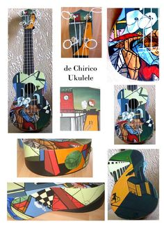 de Chirico Ukulele | paintedukuleles Painted Ukulele, Ukulele Art, Pretty Pictures, Gallery, Guitars, Instruments, Universe, Painting, Play