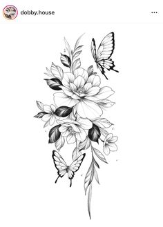Bild Tattoos, Dope Tattoos, Leg Tattoos, Body Art Tattoos, Small Tattoos, Sleeve Tattoos, Tattos, Floral Back Tattoos, Floral Tattoo Design