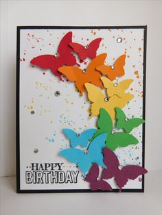 Butterfly Birthday card (2017). Colors used are Real Red, Pumpkin Pie, Daffodil Delight, Cucumber Crush, Tempting Turquoise, Rich Razzleberry, Basic Black, and Whisper White. Stamp sets are Gorgeous Grunge and Big Day.
