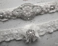 Wedding Garter Set Toss Garter Bridal Garter by BridalGoddess