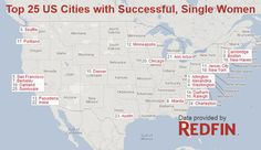 Top cities for successful, single women in the United States, based on education, salary, marital status, and top tier employers.