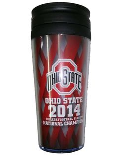 Ohio State Buckeyes 2015 College Football Playoffs National Champions Red Lattice Travel Mug Cup
