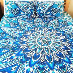 Blue Sun Flower Bohemian Tapestry Elephant Mandala Indian Queen Size Duvet Bedding 3 Pc Set Boho Hippie Bedspread & 2 Pillow Cases - Free Shipping