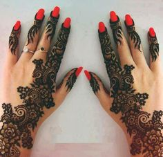 Pretty and Intricate Mehendi Design... Red nail polish makes it pop out even better...