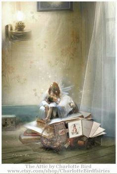 The Attic ©  Charlotte BIRD (Artist. Merseyside, England) Matted/ Mounted  fairy print $32.00,  CharlotteBirdfairies