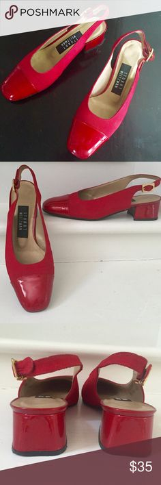 Stuart Weitzman Pumps Stuart Weitzman sling/back pumps, size Fabulous, flirty faille red fabric with red patent heels and toes. No scuffs or marks. Patent Heels, Shoes Heels, Pumps, Red Fabric, Fashion Design, Fashion Tips, Fashion Trends, Stuart Weitzman, Womens Fashion