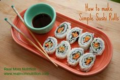 How to Make Simple Sushi Rolls by Real Mom Nutrition // w kids - QFC mango and crab rolls - summer activity?