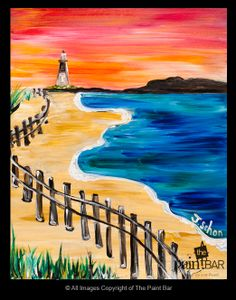 Beach Lighthouse Painting - Jackie Schon, The Paint Bar