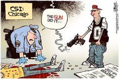 Brilliant Political Cartoon Shows Who Liberals Blame for all the Chicago Gun Violence Liberal Hypocrisy, Liberal Logic, Democrat Humor, Political Satire, Political Cartoons, Political Issues, Gun Rights, Civil Rights, Conservative Politics