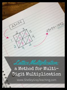 Lattice multiplication is a fun alternative to long multiplication. Please note that before using a strategy like this, students should have used other, more mental math based, strategies such as partial products to really understand the multiplication process. Once students have an excellent grasp of what the numbers mean, this can be a fun way to teach long multiplication.