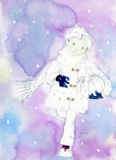 Chihiro Iwasaki Japanese Illustration, Children's Book Illustration, Watercolor Illustration, Book Illustrations, Watercolor Pattern, Watercolor Drawing, Watercolor Paintings, Winter Art, Japan Art