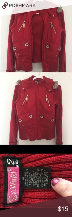"""Red Lightweight Fashion Sweater """"Say What?!"""" Red Fashion lightweight sweater. SUPER CUTE!!!  🎸❤️🎸 Say What? Sweaters"""