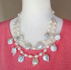 Summer Splash!  Use Code: 20OFF   Freshwater Keshi Pearl Bridal Statement Necklace, Multi-Strand MOP Wedding Necklace