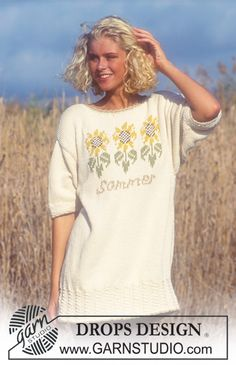 "Drops short sleeve sweater with sunflower pattern in ""Paris"". ~ DROPS Design"