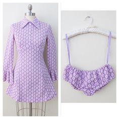 60s Lavender Diamond Print Long Sleeve Mini Dress with Matching Bloomers / Ice Skating Dress/ XS by retrorocketgirl