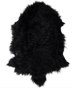 Mongolian Sheepskin Throw   Black