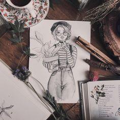 Day plant mom - New Pin Girl Drawing Sketches, Cute Drawings, Pretty Art, Cute Art, Character Art, Character Design, Art Et Design, Arte Sketchbook, Aesthetic Art