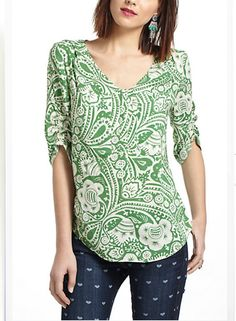 great neckline, color and pattern. great with jeans or skirts