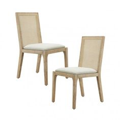 Light Wood Cane Back Natural Fabric Dining Chair Set 2