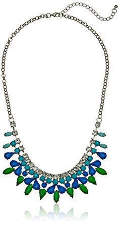 """Multi-Color Cabochon and Rhinestone Burnished Silver-Tone Statement Necklace, 18"""" + 3"""" Extender Amazon Collection http://www.amazon.com/dp/B00HQDAVZS/ref=cm_sw_r_pi_dp_THVevb0S03NRC"""