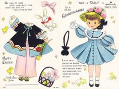 Terry Pettit:  Sally Hallmark Easter Card-click on the different red links to print the doll and clothes