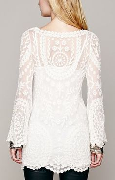 White See-through O-neck Long Sleeves Lace Dress