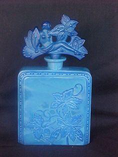 Rare Ingrid Glass Line Czech Art Deco Lapis Opaque Glass Perfume Bottle Set 1930s