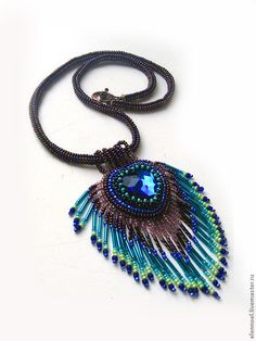 "Beaded pendant style necklace.  Fair Masters - ""peacock feather.""  Handmade."
