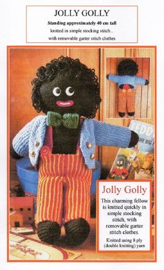 VINTAGE KNITTING PATTERN PDF 'JOLLY GOLLY GOLLIWOG SOFT TOY'