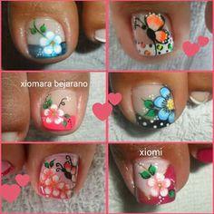Fancy Nails Designs, Pedicure Designs, Toe Nail Designs, Cute Toe Nails, Cute Toes, Toe Nail Art, Manicure And Pedicure, Nail Arts, Trendy Nails