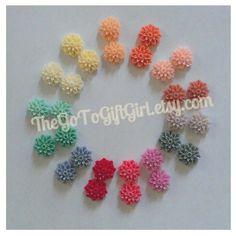 Resin Chrysanthemum Flower Stud Earrings by TheGoToGiftGirl, $5.00