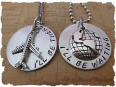 Set of 2 Necklaces There and Waiting Long Distance Relationship necklaces by TheLightandTheDark