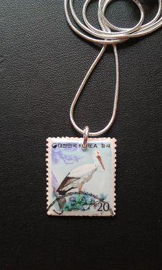 KOREA -  Vintage Postage Stamp Jewelry