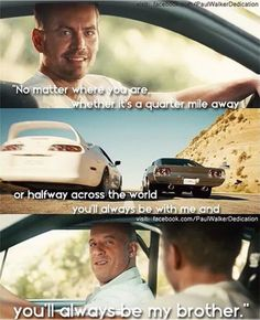 Final scene Fast & Furious 7 with Paul Walker & Vin Diesel. Brothers