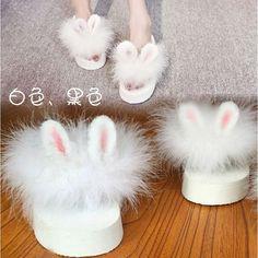 Lolita Cute Rabbit Ear Wedge Heel Slippers Mori Girl Plush Platform Flip Flops