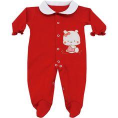 Macacão Bebê Barato Menina em Suedine Vermelho - Goiabada :: 764 Kids | Roupa bebê e infantil