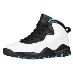Air Jordan 10 Retro 'Powder Blue' ❤ liked on Polyvore featuring shoes, sneakers and jordans